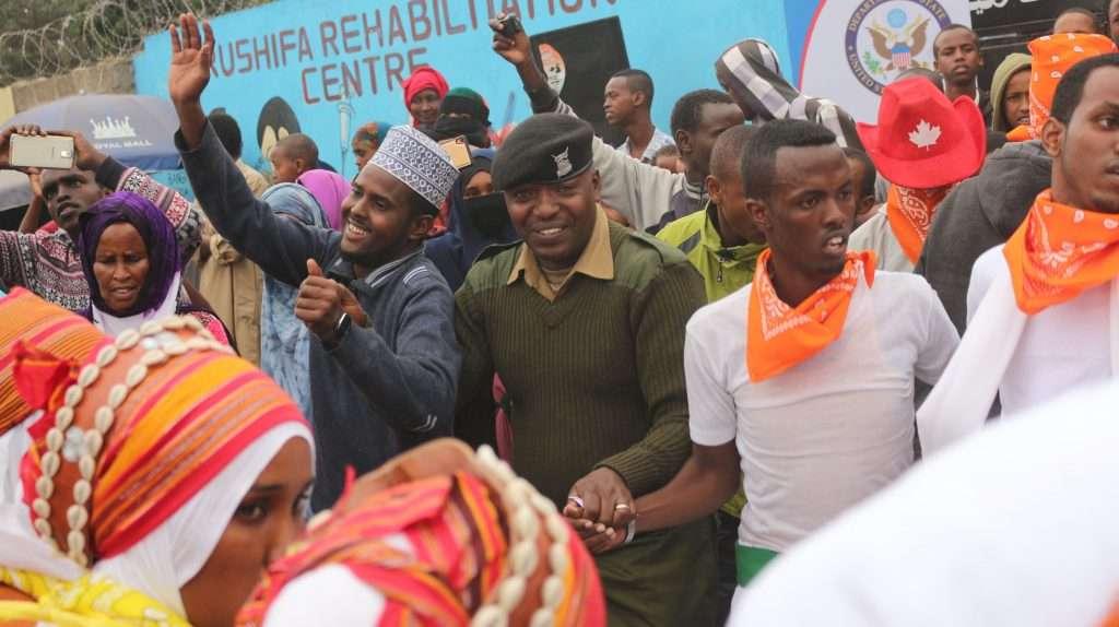 Police and community members during an event in Kamukunji Nairobi